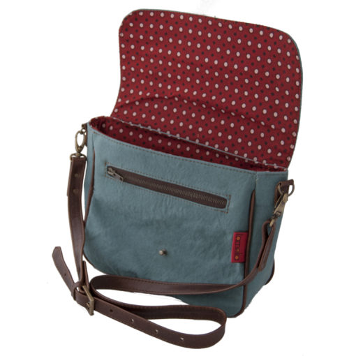Teal Satchel inside